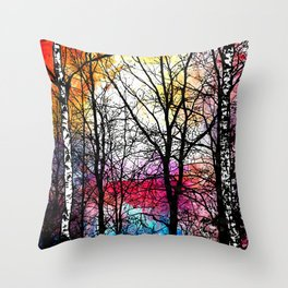Tree Alley Colors Throw Pillow
