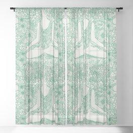 lotus garden vintage green Sheer Curtain