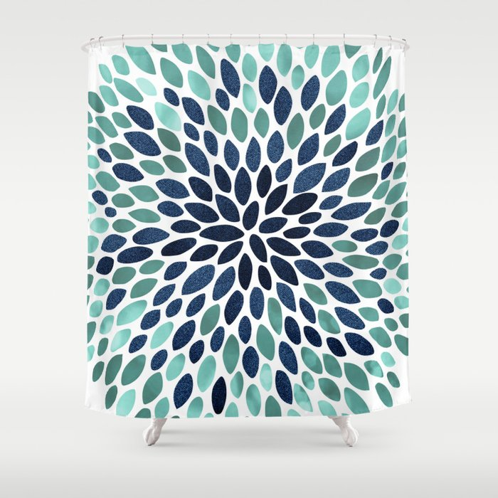 Flower Bloom Aqua And Navy Shower Curtain By Meganmorrisart