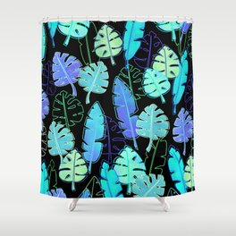 tropic leaves pattern (monstera and the bird of paradise) Shower Curtain