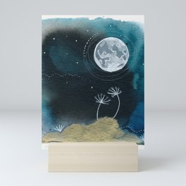 Moon Series #11 Watercolor + Ink Painting Mini Art Print