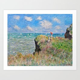 Claude Monet Cliff Walk At Pourville 1882 Art Print