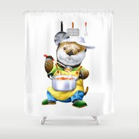 cooking Shower Curtains featuring A sea otter cooking by FACTORIE