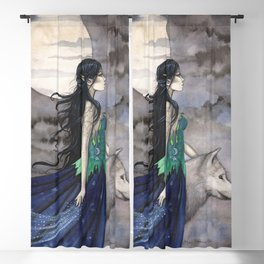 Night of the Wolf Fantasy Art Illustration by Molly Harrison Blackout Curtain