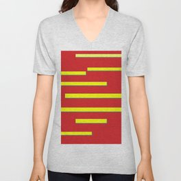 Bright Red and Bright Yellow Graphic Design Unisex V-Neck