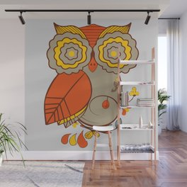 Abstract Colorful Floral Owl, Cute Owl Sticker, Terracotta Colors, Orange Yellow Gray And  Brown Wall Mural