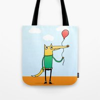 baloon Tote Bags featuring Fox & Baloon by Pedro Vilas Boas