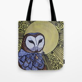 Barn Owl Art Nouveau Panel in yellow Tote Bag