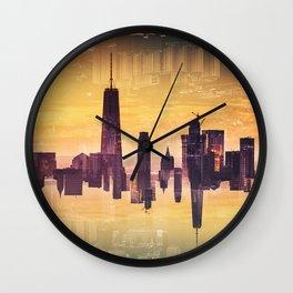 double exposure of nyc skyline Wall Clock