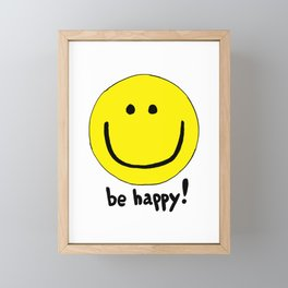 Be Happy Smiley Face Framed Mini Art Print