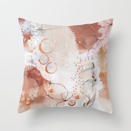 Abstract - Circulating - Richly Textured Design in Vermillion and Rust Color Throw Pillow
