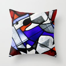 Red and Blue Montreal Stain Glass Window Throw Pillow