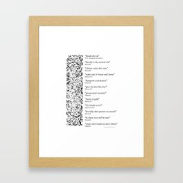 Words Words Words - William Shakespeare Quotations print Framed Art Print