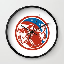 American Football QB Throwing USA Flag Retro Wall Clock