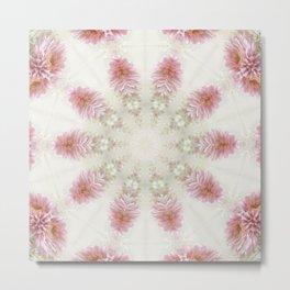Pink Chrysanthemums Kaleidoscope Art 2 Metal Print