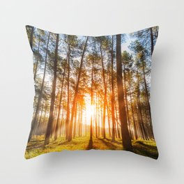 sunset behind trees in forest landscape - nature photography Throw Pillow