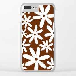 Tiare Flower Brown Clear iPhone Case