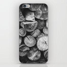 Logs of fire wood | Black and White | Lumber | Nature | By Magda Opoka iPhone Skin