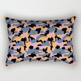 Purple, orange, blue and black Camouflage repeat Print pattern for fashion and home decor by Arcos P Rectangular Pillow