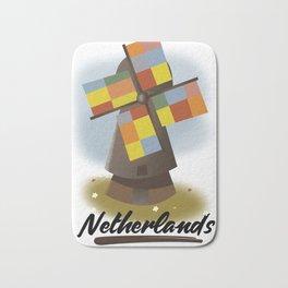 Netherlands travel poster Bath Mat