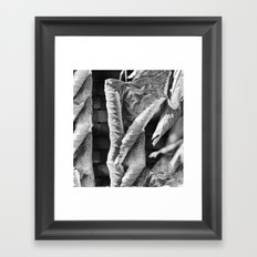 Large Black and White Curled Leaves and Geometric Tile Framed Art Print