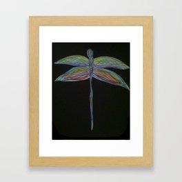 Dragonfly on Black Framed Art Print