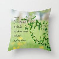 jane austen Throw Pillows featuring Jane Austen Refreshment by KimberosePhotography