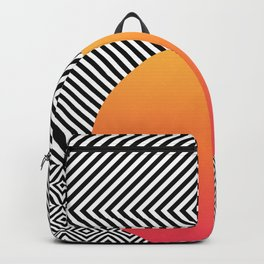 Monochrome Geometric Pattern Clash Abstract Ombre Circle Backpack