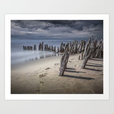 Footprints and Pilings on the Beach at Kirk Park by Grand Haven Michigan Art Print