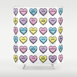 Baesic Candy Hearts - Mexican Food Shower Curtain
