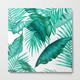 HAWAIIAN GARDEN TROPICAL LEAVES | turquoise white Metal Print