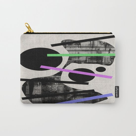 PENSIVE - Eclectic blend of geometric shapes, pastel colours, and black and white textures Carry-All Pouch