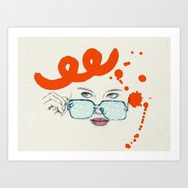 Gaze / orange and blue Art Print