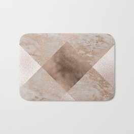 Copper and Blush Rose Gold Marble Gingham Bath Mat