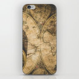 old nautical map with compass iPhone Skin