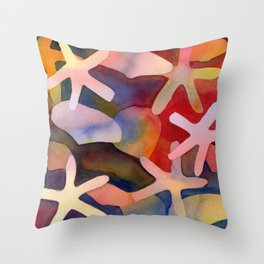 Sea Stars and Sea Shells Watercolor Art Throw Pillow