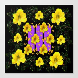 BLACK ART  YELLOW AMARYLLIS FLOWERS BUTTERFLY FLORAL Canvas Print
