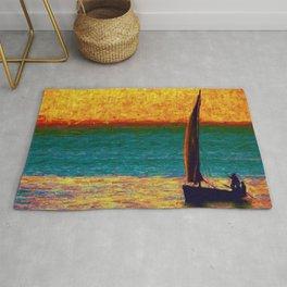 Seascape Boat Painting Impressionism Blue Ocean Art Rug