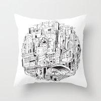 houston Throw Pillows featuring Downtown Houston by SethMicLap