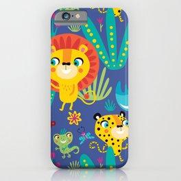 Kids Jungle Animals Monkey Lion Rhino Leopard Pattern iPhone Case