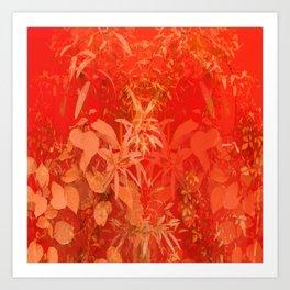 Beautiful red foliages - illustration of garden Art Print