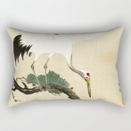 Crane and its chicks on a pine tree  - Vintage Japanese Woodblock Print Art Rectangular Pillow