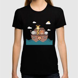 Kawaii Cute Zoo Animals On A Boat T-shirt