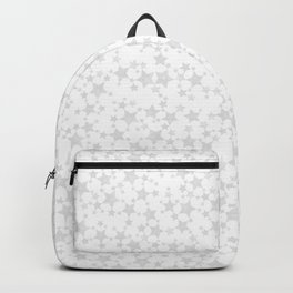 Block Print Silver-Gray and White Stars Pattern Backpack