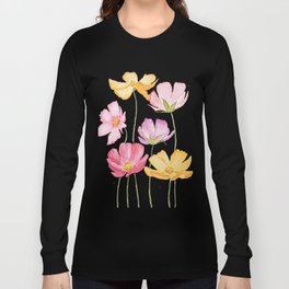 colorful cosmos flower Long Sleeve T-shirt