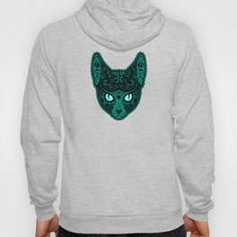 Blue Day of the Dead Sugar Skull Cat Hoody