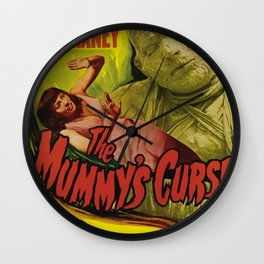 The Mummy's curse, vintage horror movie poster Wall Clock
