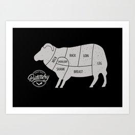 Sheep Butchery Chart Art Print