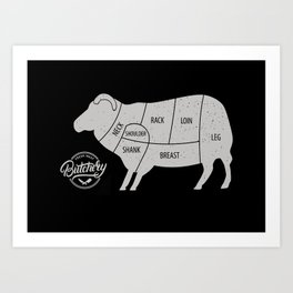 Sheep Butchery Chart Art Print