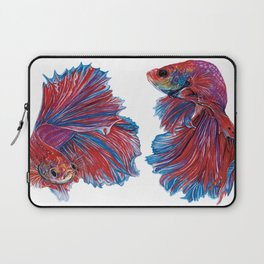 Ocean Theme- Red Blue Betta fish Watercolor Painting Laptop Sleeve